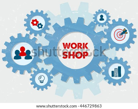 workshop and education symbols in grunge flat design gear wheels infographic, learning conceptual words and signs, vector - stock vector
