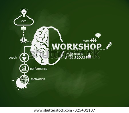 Workshop concept and brain. Hand writing Job application with chalk on green school board - stock vector