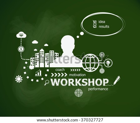 Workshop concept and man. Hand writing Workshop with chalk on green school board - stock vector
