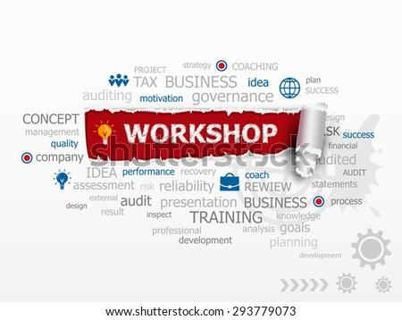 Workshop concept word cloud. Design illustration concepts for business, consulting, finance, management, career. - stock vector
