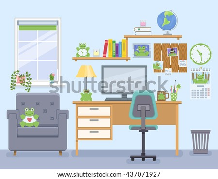 Workspace for freelancer in flat style. Home room with workplace. Collector's room with items related to frogs. Vector illustration - stock vector