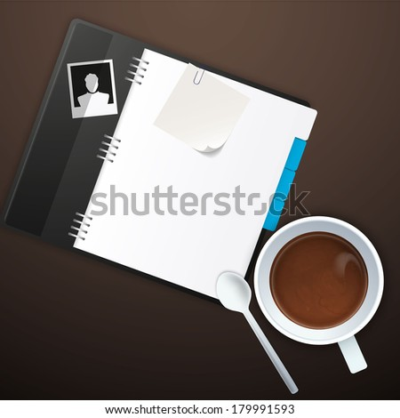 Workspace with coffee cup, instant photos, note paper and notebook on old wooden table  - stock vector