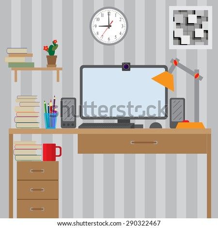 Workstation for use with the computer. Large bright room.  - stock vector
