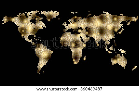 World abstract dotted stylized golden map on black. Vector illustration. - stock vector