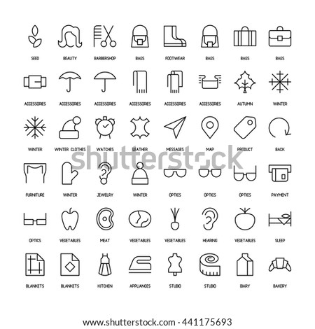 World activities and organizations simple icons set. Paths. Vector illustration - stock vector