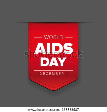 World AIDS Day - December 1 red ribbon - stock vector