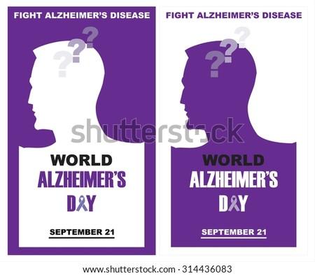 World Alzheimer's day, September 21. Fight Alzheimer's Disease. - stock vector