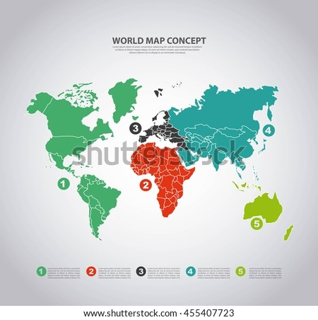 World and Map concept represented by earth and infographic icon. Colorfull and flat illustration.  - stock vector