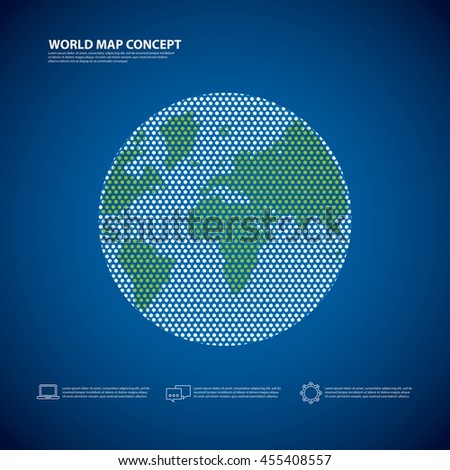 World and Map concept represented by earth icon. Colorfull and flat illustration.  - stock vector