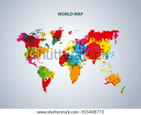 World and Map concept represented by earth icon. Colorfull and splash illustration.  - stock vector