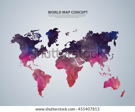 World and Map concept represented by polygonal earth icon. Colorfull illustration.  - stock vector