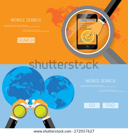 World and mobile search illustration. - stock vector