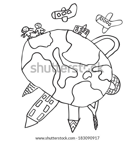 World around doodle kids drawing - stock vector