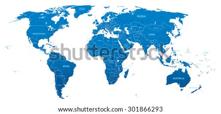 World Blue Map - stock vector