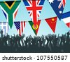 World bunting flags and crowd - stock vector