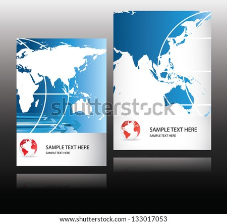 world business magazine cover in blue - stock vector