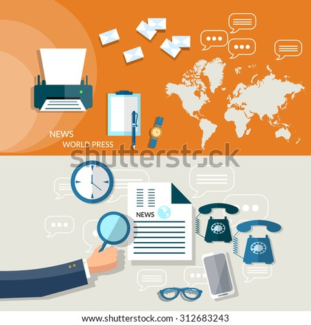 World business news analytic business plan strategy hand of businessman financial report flat headers banners   - stock vector
