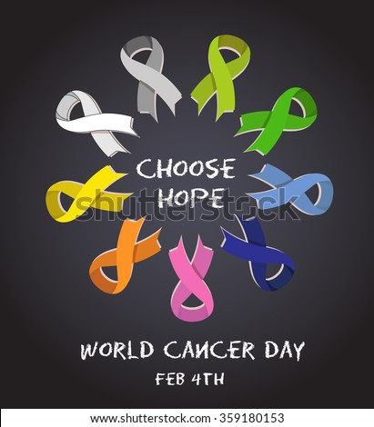 World cancer day. colorful awareness ribbons isolated over white background. vector - stock vector
