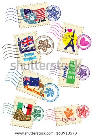 World Country Stamps Set (vector) - stock vector