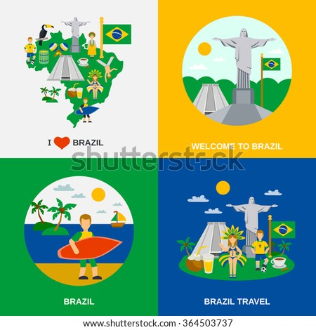 World cultural travel 4 flat icons square composition with brazilian national symbols and colors abstract vector illustration - stock vector