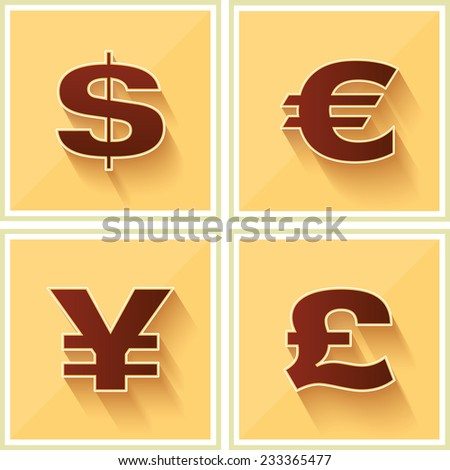 World Currency Symbols Flat Icon on Yellow Retro background - stock vector