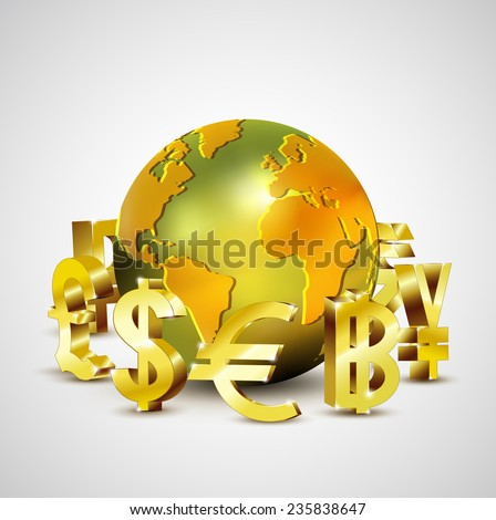 world currency symbols moving around 3d golden world, vector illustration - stock vector