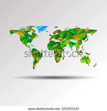 world earth vector travel illustration geography map australia africa asia planet - stock vector