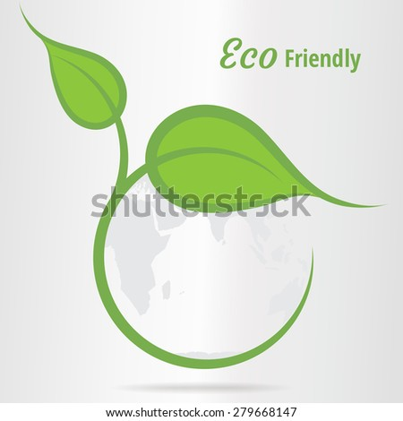 World Environment concept with world map and green leaves - Eco Friendly - stock vector