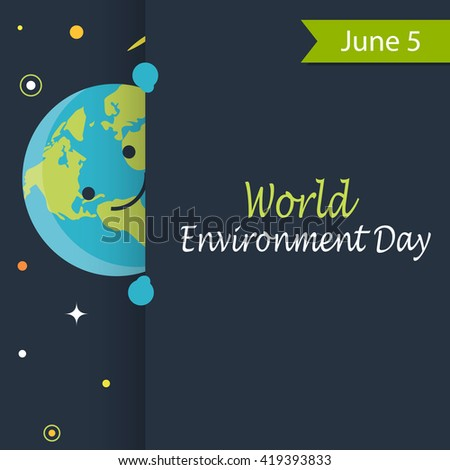 World Environment Day card or background, June 5, vector illustration - stock vector