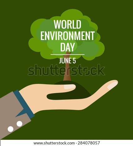 World environment day concept, Hands with tree. Vector illustration. - stock vector