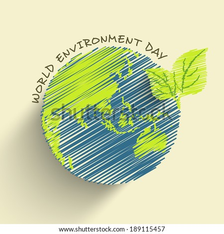 World Environment Day concept with beautiful illustration of mother earth globe and stylish text on abstract background.  - stock vector