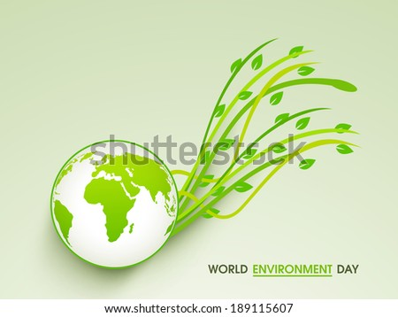 World Environment Day concept with beautiful mother earth globe and green leaves on abstract background. - stock vector
