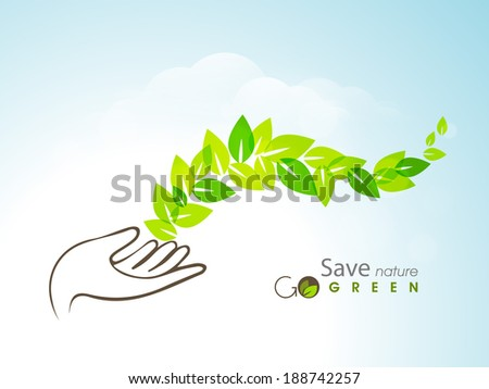 World Environment Day concept with green leaves coming out from human hand on blue background.  - stock vector
