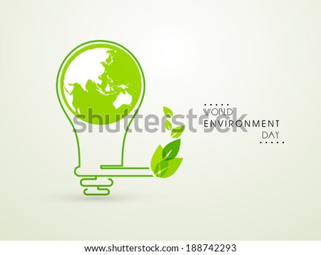 World Environment Day concept with idea for save the energy, mother earth globe in a electric bulb and green leaves.  - stock vector