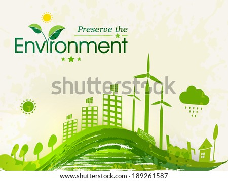 World Environment Day concept with illustration of beautiful green urban city and waves.  - stock vector