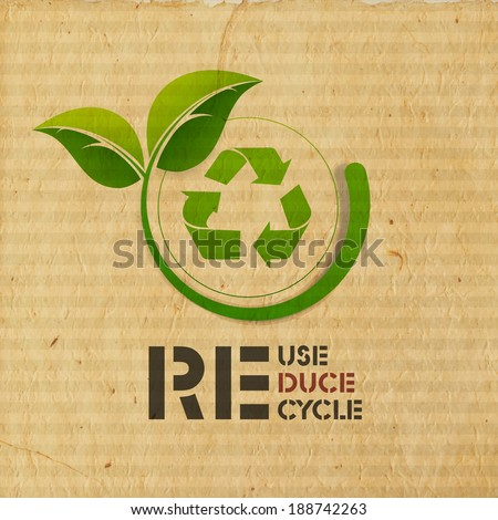 World Environment Day concept with illustration of recycle symbol and green leaves on grungy brown background.  - stock vector