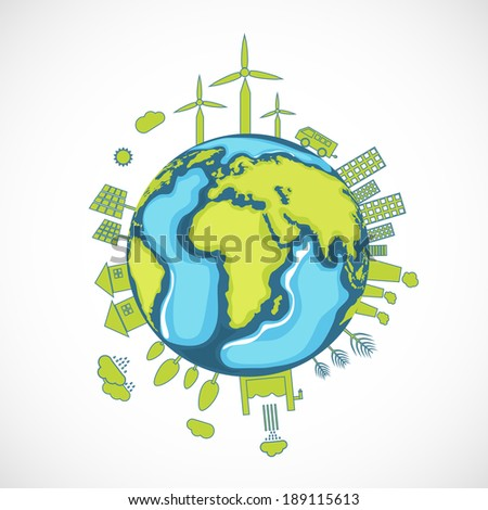 World Environment Day concept with illustration of urban city and rural town on a mother earth globe.  - stock vector