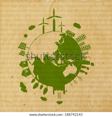 World Environment Day concept with illustration of urban city and rural town on mother earth globe on grungy brown background.  - stock vector