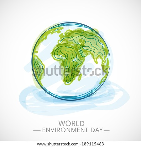 World Environment Day concept with mother earth globe on blue background.  - stock vector
