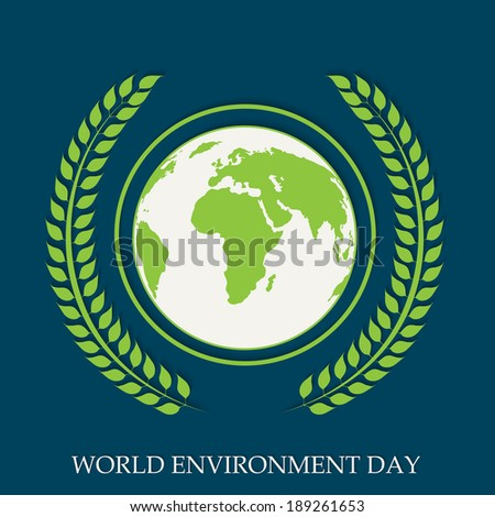 World Environment Day concept with world map globe and beautiful green leaves on blue background.  - stock vector