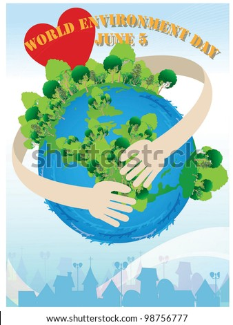World Environment Day - protecting beautiful planet from global warming and pollution on blue background : vector illustration - stock vector