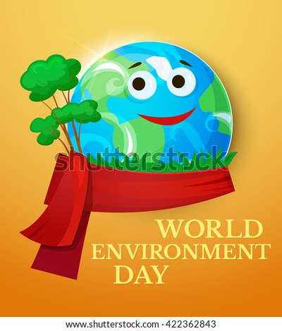 World Environment Day with smiling planet Earth, Green Planet concept design, vector illustration  - stock vector