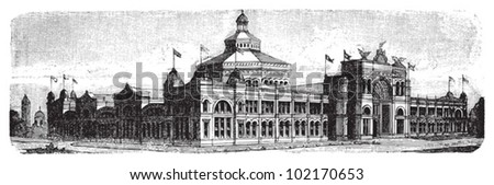 World exhibition building in Chicago - United States 1893 / vintage illustration from Brockhaus Konversations-Lexikon 1908 - stock vector