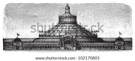 World exhibition building in Vienna 1873 - Rotunda / vintage illustration from Brockhaus Konversations-Lexikon 1908 - stock vector