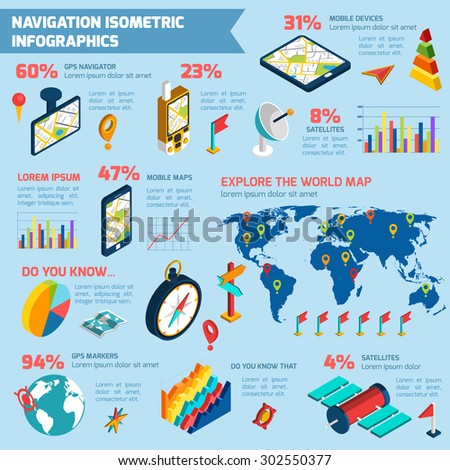 World exploring with modern computer navigation gps system infographic  layout presentation poster isometric design abstract vector illustration - stock vector