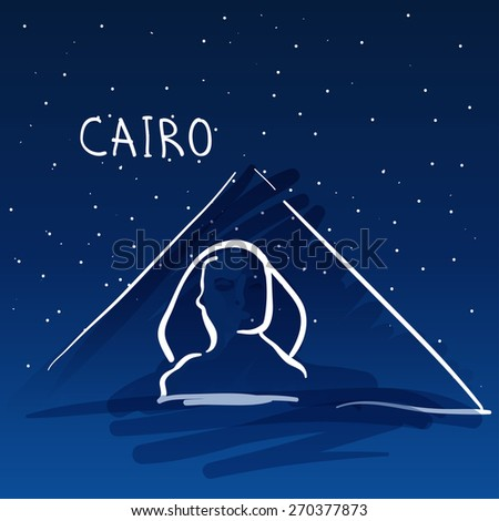 World famous landmark series: Pyramids and Sphinx, Cairo, Egypt - stock vector