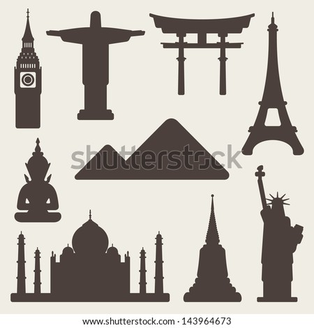 World famous monuments - stock vector