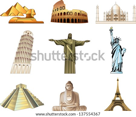 world famous monuments icons detailed vector set - stock vector