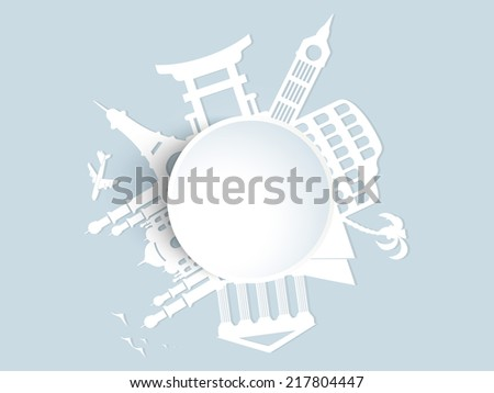 World famous monuments with plane white sticker, Tour and traveling concept.  - stock vector