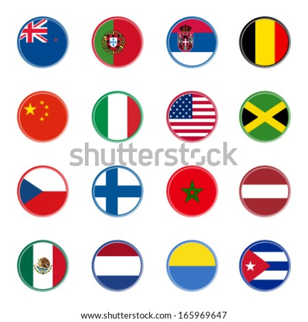 world flag icons - stickers 1/4 (official colors) - stock vector